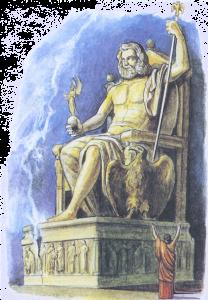 Статуя зевса в Олимпии (рисунок современного художника)