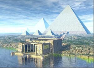 Комплекс пирамид как он по замыслу художника выглядел в древности